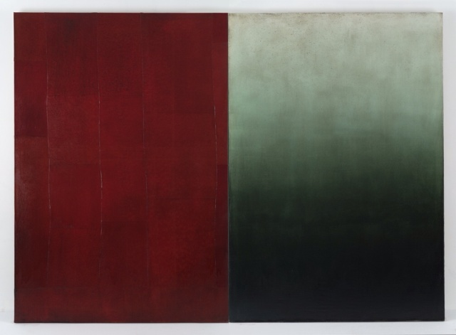 """Mare"", 2015 Oil on canvas, two panels Overall dimensions: 110 x153 inches 279 x 388 cm"